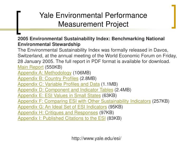 Yale Environmental Performance Measurement Project