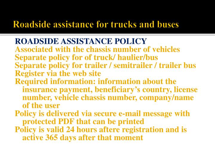 Roadside assistance for trucks and buses