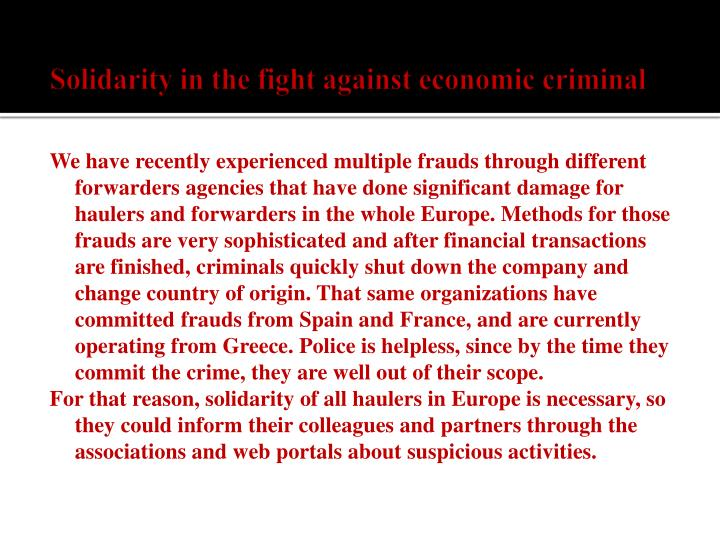Solidarity in the fight against economic