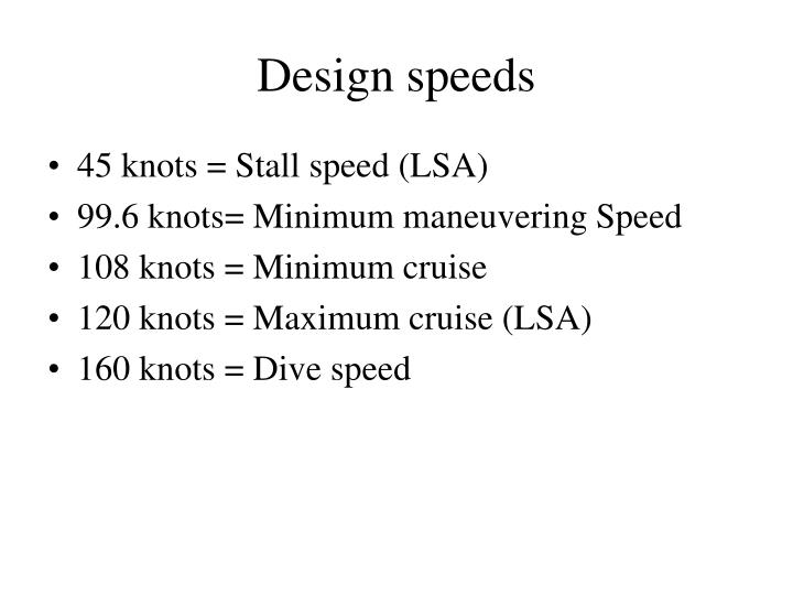 Design speeds