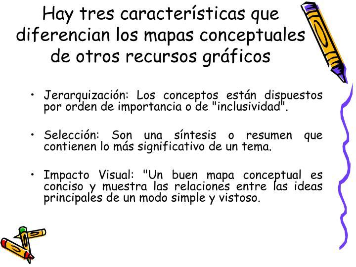 Hay tres características que diferencian los mapas conceptuales de otros recursos gráficos