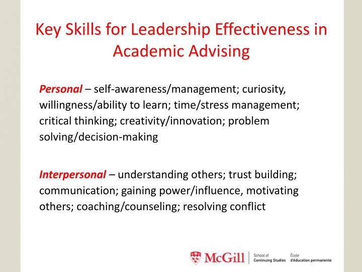 Key Skills for Leadership Effectiveness in Academic Advising