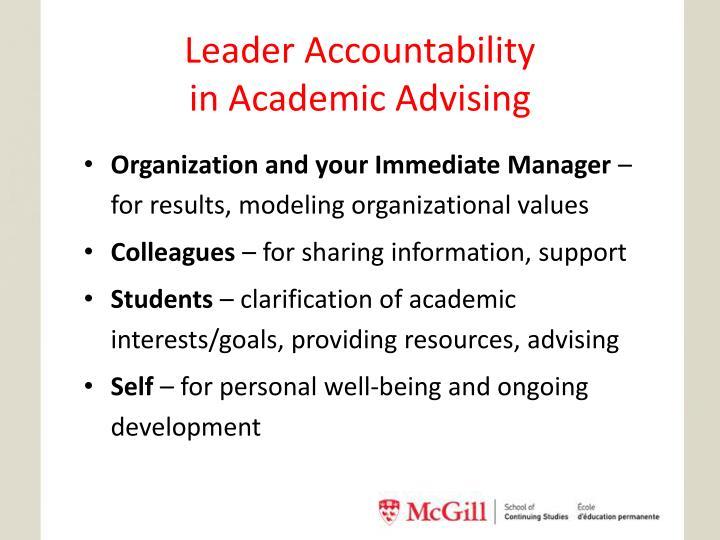 Leader Accountability