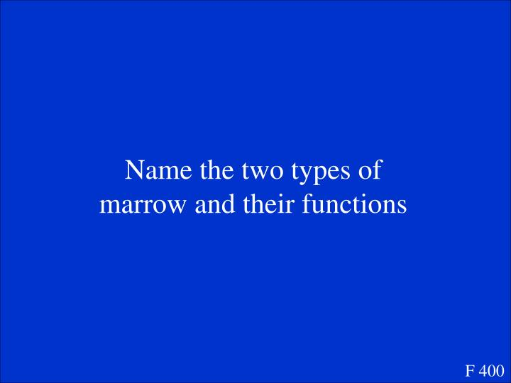 Name the two types of marrow and their functions