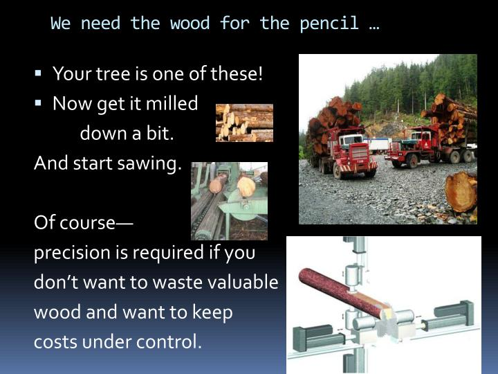We need the wood for the pencil …