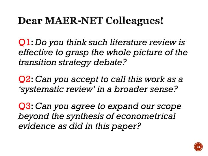Dear MAER-NET Colleagues!
