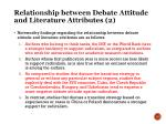 relationship between debate attitude and literature attributes 2