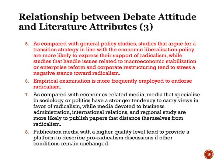 Relationship between Debate Attitude and Literature Attributes (3)