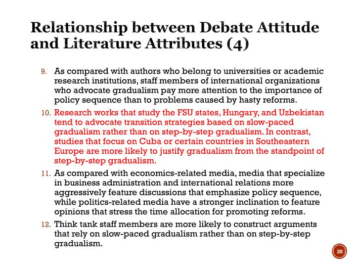 Relationship between Debate Attitude and Literature Attributes (4)