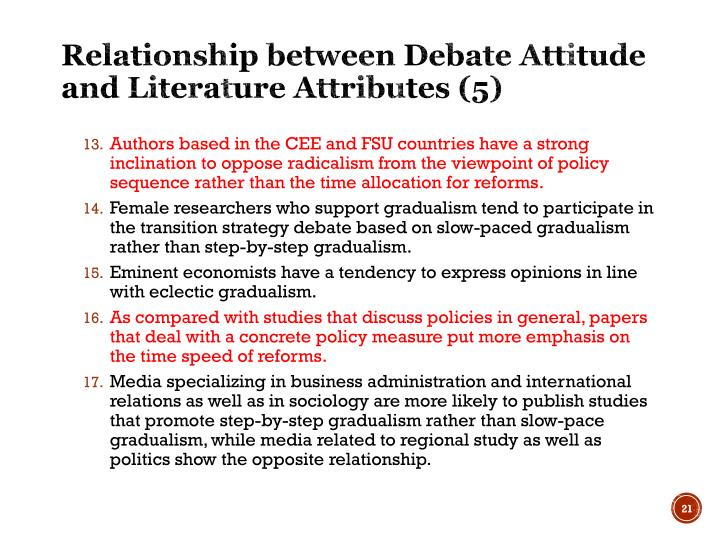 Relationship between Debate Attitude and Literature Attributes (5)