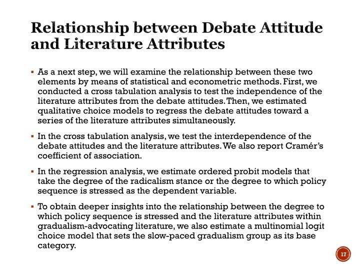 Relationship between Debate Attitude and Literature Attributes