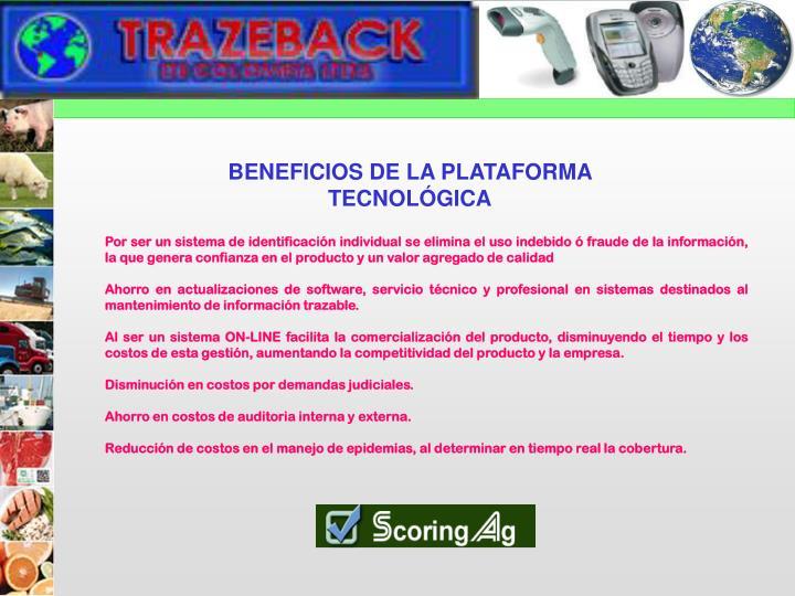BENEFICIOS DE LA PLATAFORMA TECNOLÓGICA