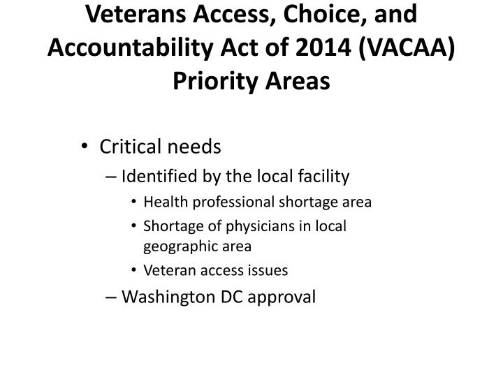 Veterans Access, Choice, and Accountability Act of 2014 (VACAA