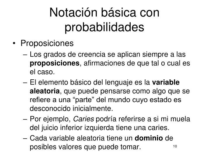 Notación básica con probabilidades