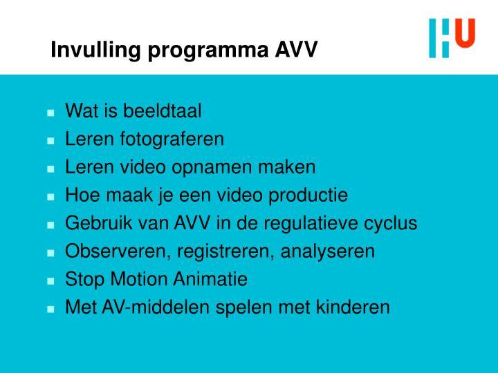Invulling programma AVV