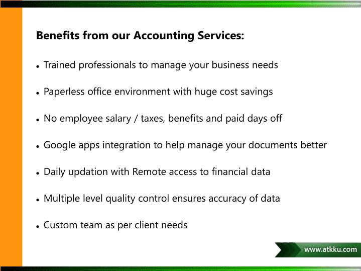 Benefits from our Accounting Services: