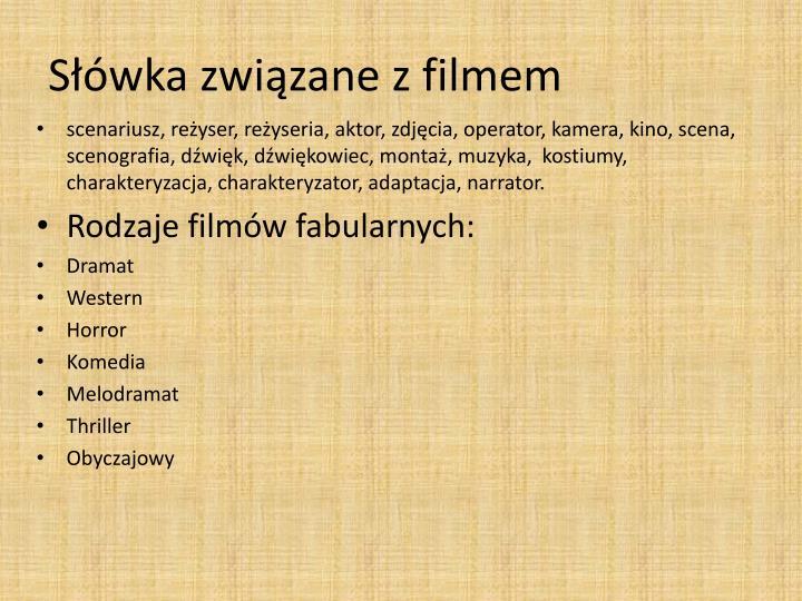 Słówka związane z filmem