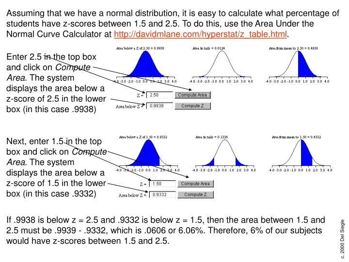 Assuming that we have a normal distribution, it is easy to calculate what percentage of students have z-scores between 1.5 and 2.5. To do this, use the Area Under the Normal Curve Calculator at