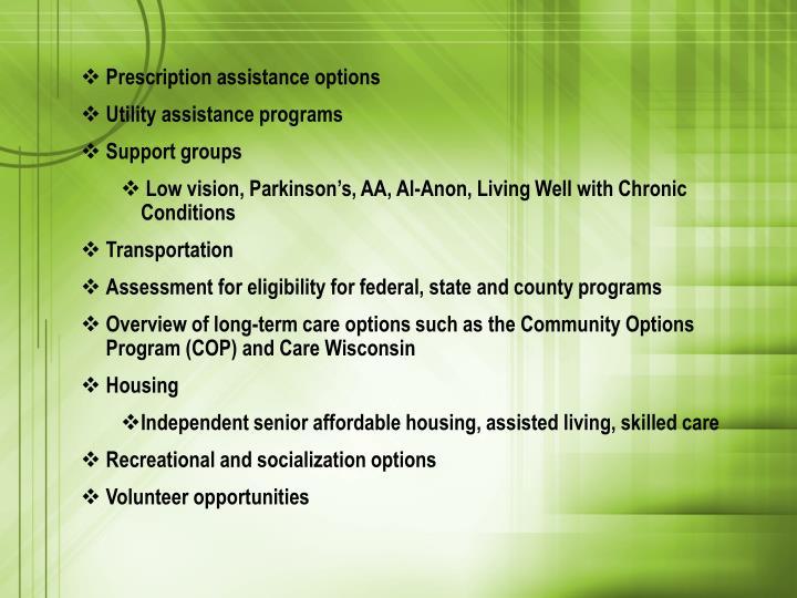Prescription assistance options