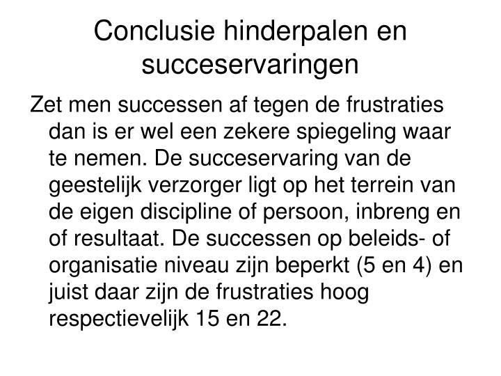 Conclusie hinderpalen en succeservaringen