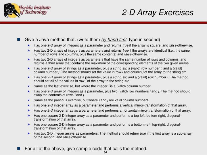 2-D Array Exercises
