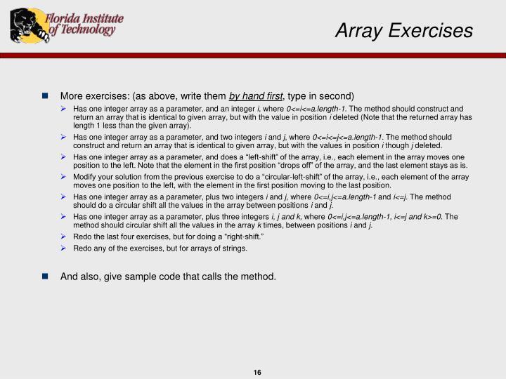 Array Exercises
