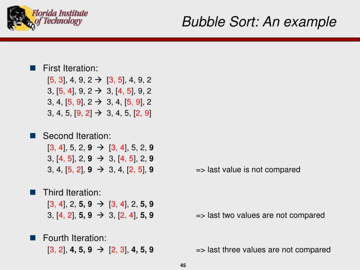 Bubble Sort: An example