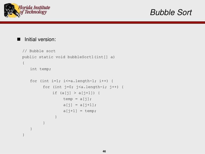 // Bubble sort