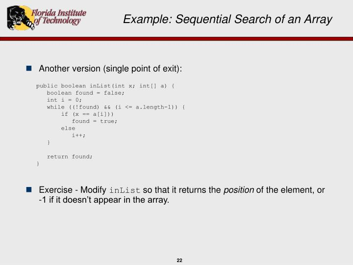 Example: Sequential Search of an Array