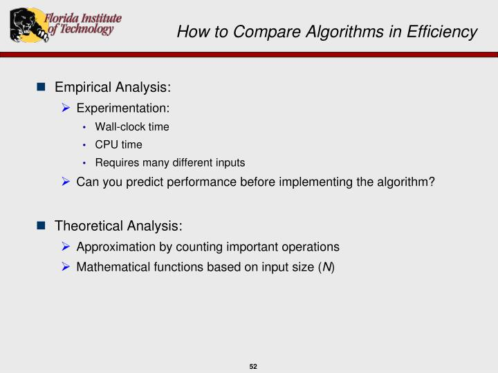 How to Compare Algorithms in Efficiency