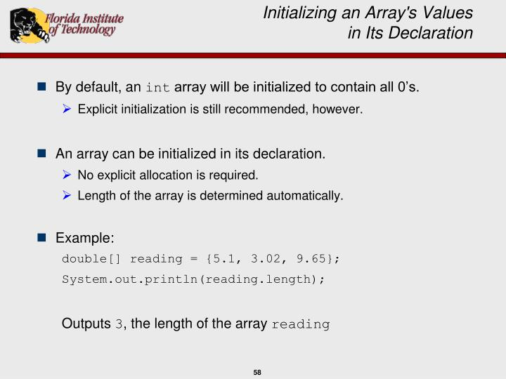 Initializing an Array's Values