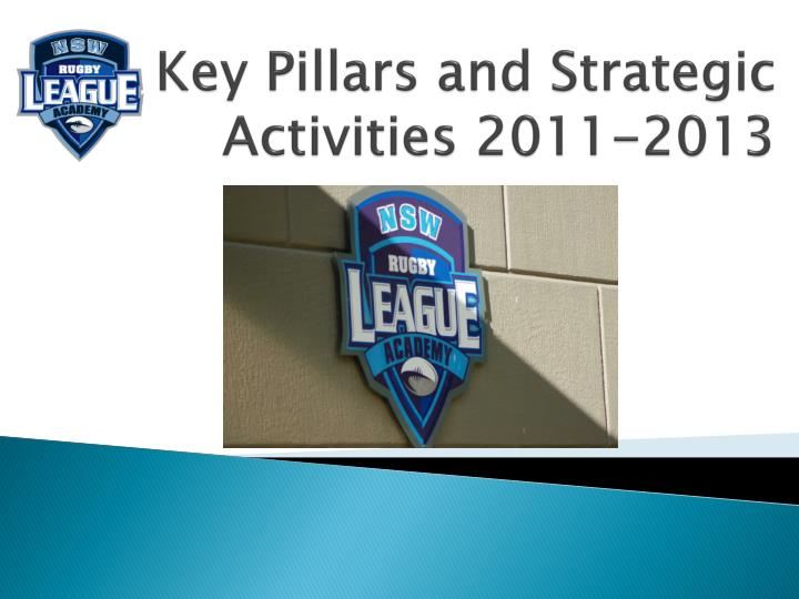 Key Pillars and Strategic Activities 2011-2013