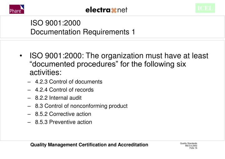 "ISO 9001:2000: The organization must have at least ""documented procedures"" for the following six activities:"
