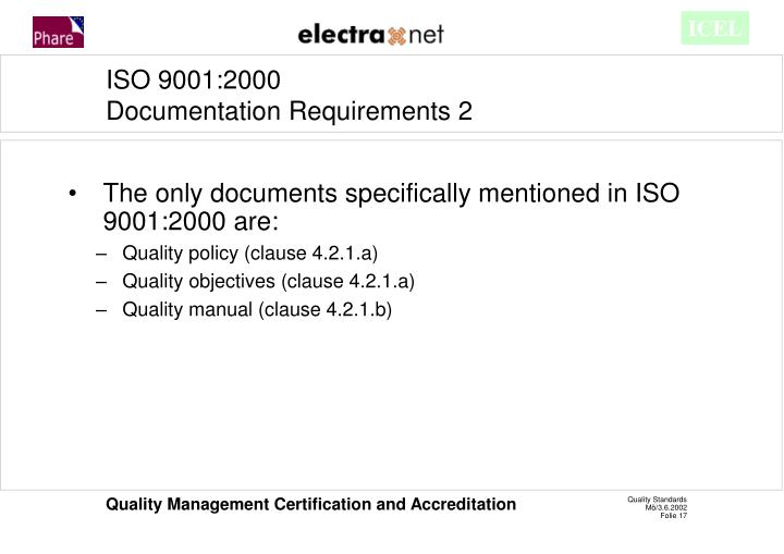 The only documents specifically mentioned in ISO 9001:2000 are: