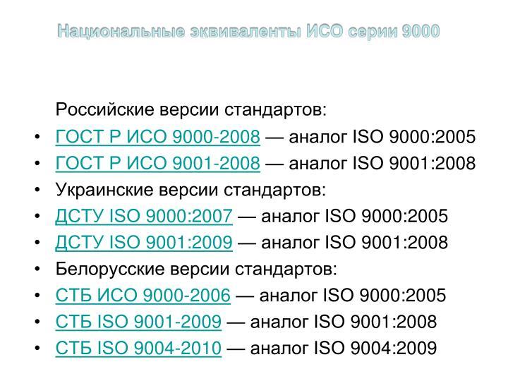 Национальные эквиваленты ИСО серии 9000
