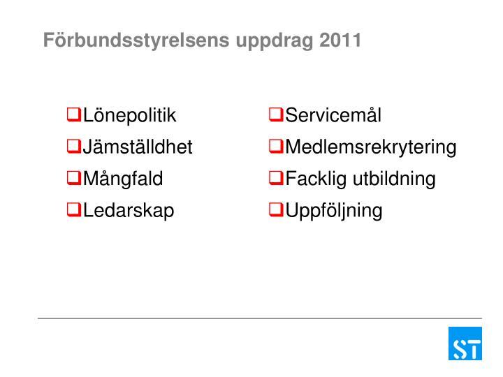 Förbundsstyrelsens uppdrag 2011