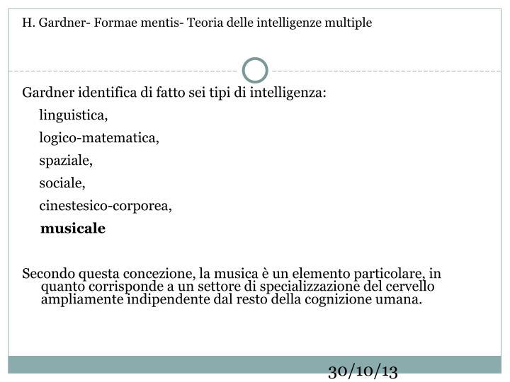 H. Gardner- Formae mentis- Teoria delle intelligenze multiple