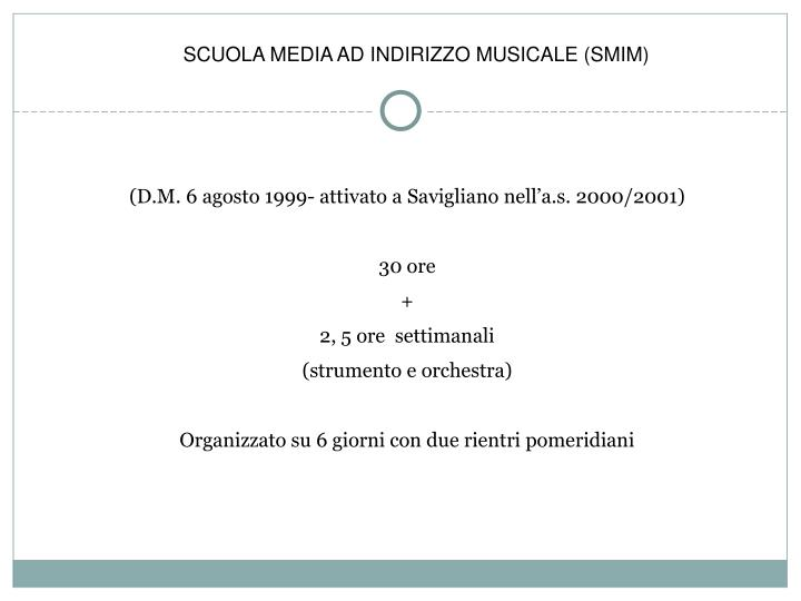 SCUOLA MEDIA AD INDIRIZZO MUSICALE (SMIM)