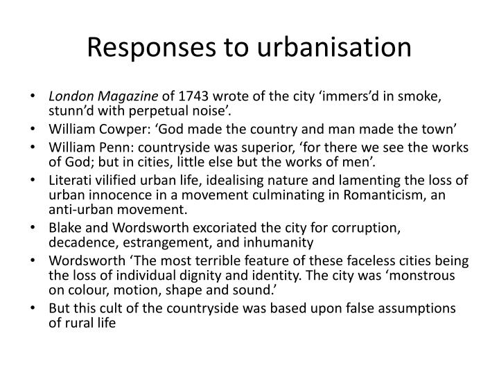 Responses to urbanisation