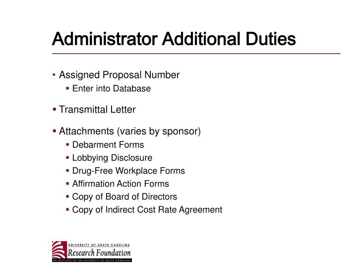 Administrator Additional Duties