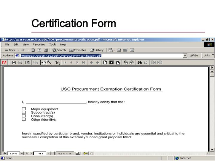 Certification Form