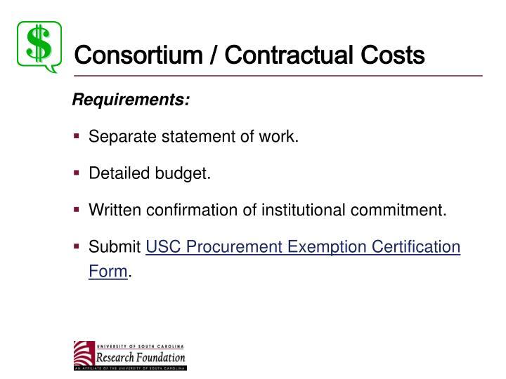 Consortium / Contractual Costs