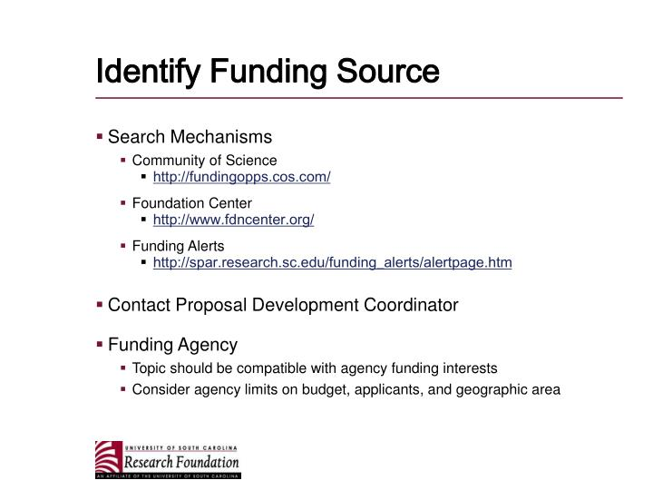 Identify Funding Source
