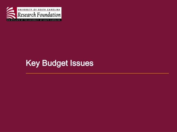 Key Budget Issues