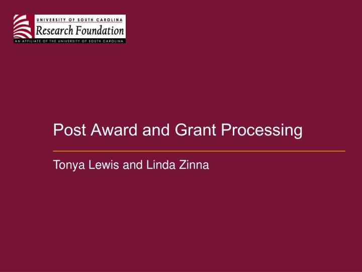 Post Award and Grant Processing