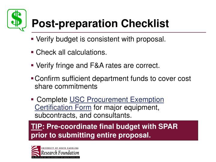 Post-preparation Checklist