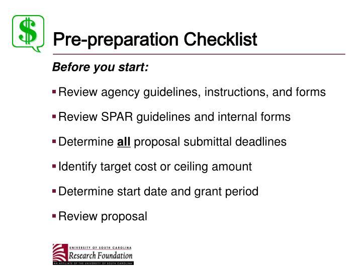 Pre-preparation Checklist