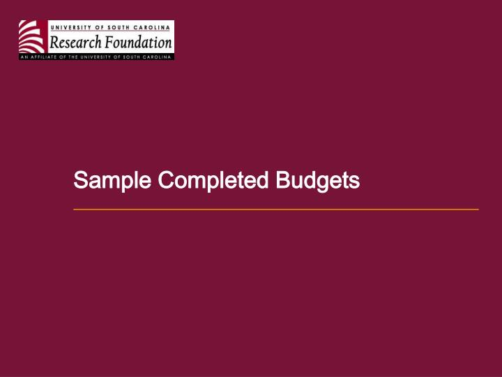 Sample Completed Budgets