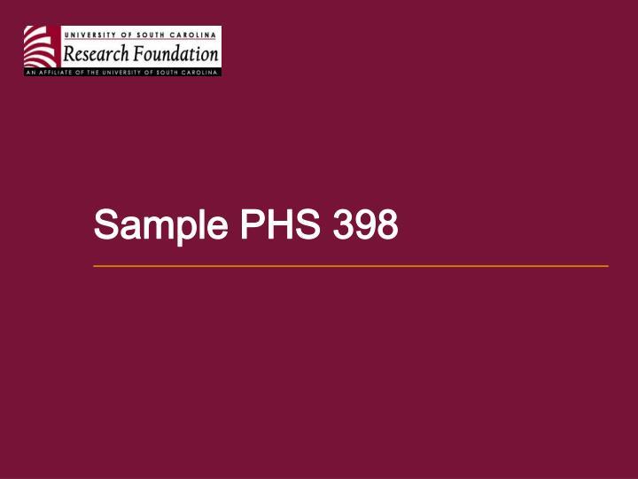 Sample PHS 398