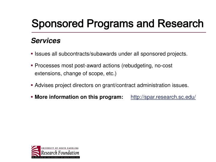 Sponsored Programs and Research